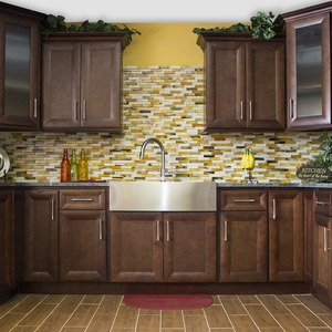 brown cabinets with silver appliances